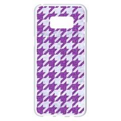 Houndstooth1 White Marble & Purple Denim Samsung Galaxy S8 Plus White Seamless Case