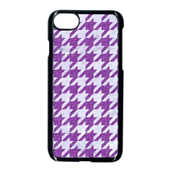 Houndstooth1 White Marble & Purple Denim Apple Iphone 8 Seamless Case (black) by trendistuff