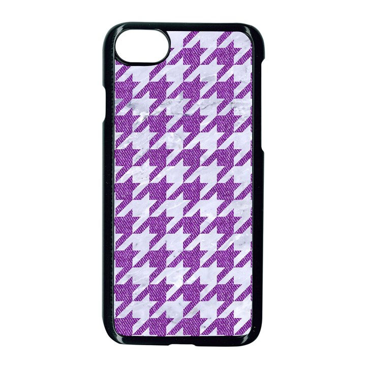 HOUNDSTOOTH1 WHITE MARBLE & PURPLE DENIM Apple iPhone 8 Seamless Case (Black)