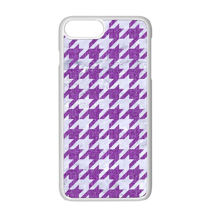HOUNDSTOOTH1 WHITE MARBLE & PURPLE DENIM Apple iPhone 8 Plus Seamless Case (White)