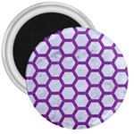 HEXAGON2 WHITE MARBLE & PURPLE DENIM (R) 3  Magnets Front