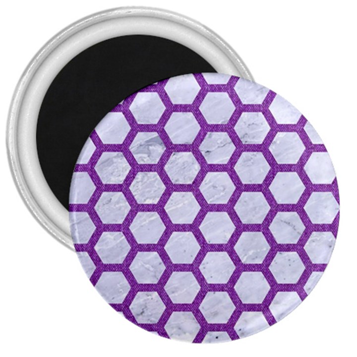 HEXAGON2 WHITE MARBLE & PURPLE DENIM (R) 3  Magnets