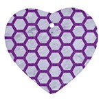 HEXAGON2 WHITE MARBLE & PURPLE DENIM (R) Ornament (Heart) Front