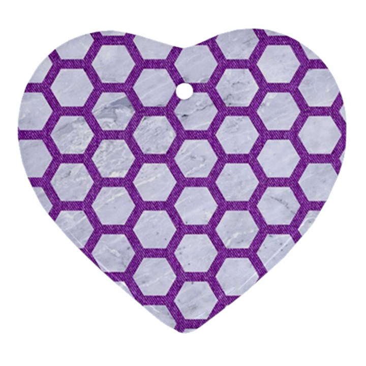 HEXAGON2 WHITE MARBLE & PURPLE DENIM (R) Ornament (Heart)