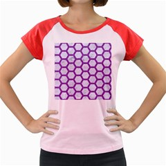 Hexagon2 White Marble & Purple Denim (r) Women s Cap Sleeve T Shirt