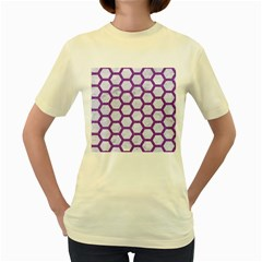 Hexagon2 White Marble & Purple Denim (r) Women s Yellow T Shirt by trendistuff