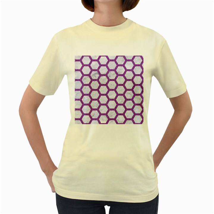 HEXAGON2 WHITE MARBLE & PURPLE DENIM (R) Women s Yellow T-Shirt