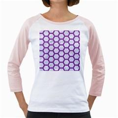 Hexagon2 White Marble & Purple Denim (r) Girly Raglans