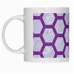 Hexagon2 White Marble & Purple Denim (r) White Mugs