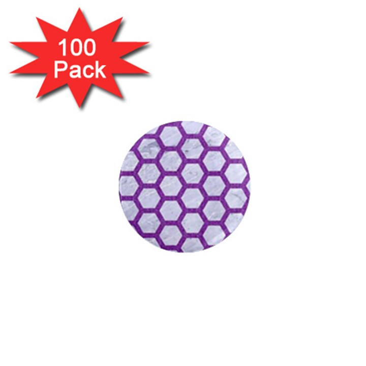 HEXAGON2 WHITE MARBLE & PURPLE DENIM (R) 1  Mini Magnets (100 pack)