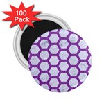 HEXAGON2 WHITE MARBLE & PURPLE DENIM (R) 2.25  Magnets (100 pack)  Front