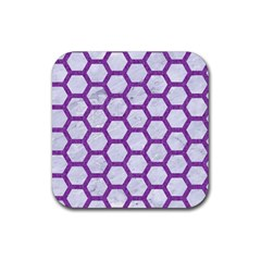 Hexagon2 White Marble & Purple Denim (r) Rubber Square Coaster (4 Pack)