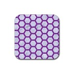HEXAGON2 WHITE MARBLE & PURPLE DENIM (R) Rubber Square Coaster (4 pack)  Front