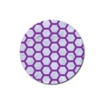 HEXAGON2 WHITE MARBLE & PURPLE DENIM (R) Rubber Round Coaster (4 pack)  Front