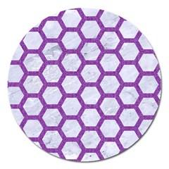 Hexagon2 White Marble & Purple Denim (r) Magnet 5  (round)