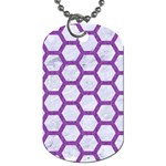 HEXAGON2 WHITE MARBLE & PURPLE DENIM (R) Dog Tag (One Side) Front