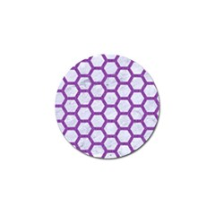 Hexagon2 White Marble & Purple Denim (r) Golf Ball Marker