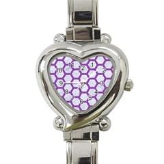 Hexagon2 White Marble & Purple Denim (r) Heart Italian Charm Watch