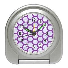 Hexagon2 White Marble & Purple Denim (r) Travel Alarm Clocks by trendistuff