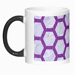 Hexagon2 White Marble & Purple Denim (r) Morph Mugs