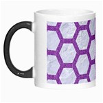 HEXAGON2 WHITE MARBLE & PURPLE DENIM (R) Morph Mugs Left