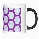 HEXAGON2 WHITE MARBLE & PURPLE DENIM (R) Morph Mugs Right