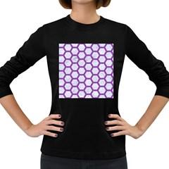 Hexagon2 White Marble & Purple Denim (r) Women s Long Sleeve Dark T Shirts