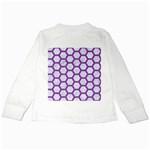 HEXAGON2 WHITE MARBLE & PURPLE DENIM (R) Kids Long Sleeve T-Shirts Back