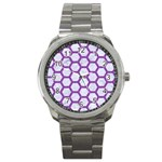 HEXAGON2 WHITE MARBLE & PURPLE DENIM (R) Sport Metal Watch Front