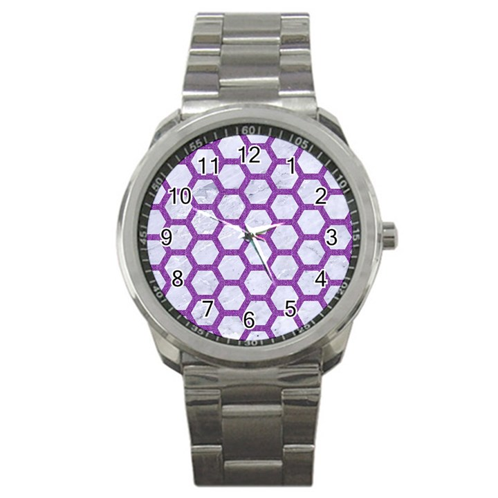 HEXAGON2 WHITE MARBLE & PURPLE DENIM (R) Sport Metal Watch