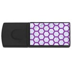 HEXAGON2 WHITE MARBLE & PURPLE DENIM (R) Rectangular USB Flash Drive Front