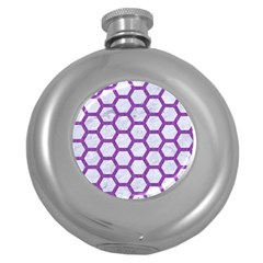 Hexagon2 White Marble & Purple Denim (r) Round Hip Flask (5 Oz) by trendistuff