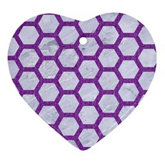 Hexagon2 White Marble & Purple Denim (r) Heart Ornament (two Sides)