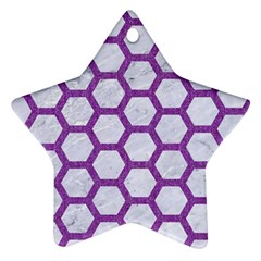 Hexagon2 White Marble & Purple Denim (r) Star Ornament (two Sides)
