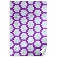 Hexagon2 White Marble & Purple Denim (r) Canvas 24  X 36