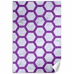 HEXAGON2 WHITE MARBLE & PURPLE DENIM (R) Canvas 24  x 36  36 x24 Canvas - 1