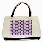 HEXAGON2 WHITE MARBLE & PURPLE DENIM (R) Basic Tote Bag (Two Sides) Back