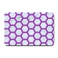 Hexagon2 White Marble & Purple Denim (r) Small Doormat  by trendistuff