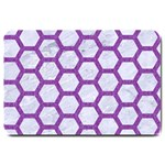 HEXAGON2 WHITE MARBLE & PURPLE DENIM (R) Large Doormat  30 x20 Door Mat - 1