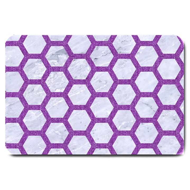 HEXAGON2 WHITE MARBLE & PURPLE DENIM (R) Large Doormat