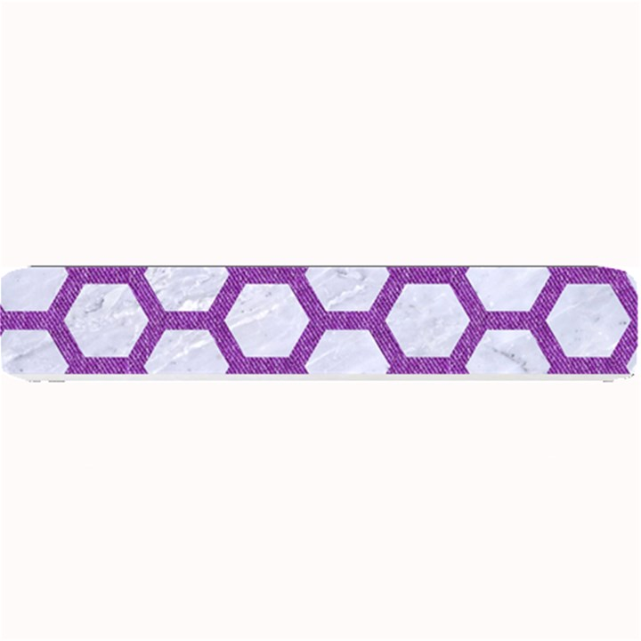 HEXAGON2 WHITE MARBLE & PURPLE DENIM (R) Small Bar Mats