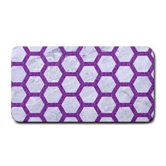 Hexagon2 White Marble & Purple Denim (r) Medium Bar Mats by trendistuff