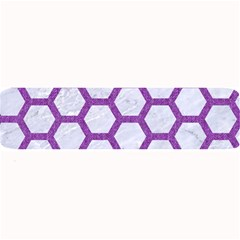 Hexagon2 White Marble & Purple Denim (r) Large Bar Mats