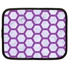 Hexagon2 White Marble & Purple Denim (r) Netbook Case (large)