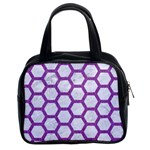 HEXAGON2 WHITE MARBLE & PURPLE DENIM (R) Classic Handbags (2 Sides) Front