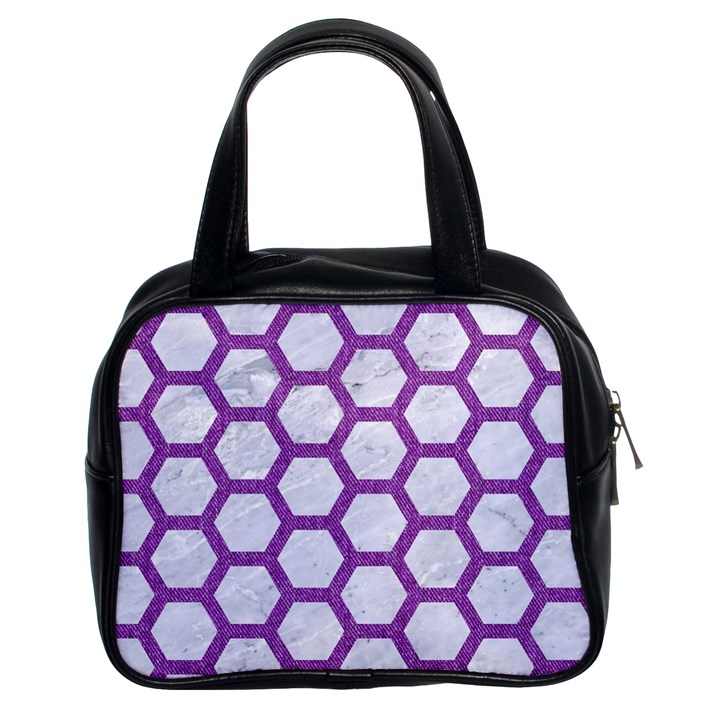 HEXAGON2 WHITE MARBLE & PURPLE DENIM (R) Classic Handbags (2 Sides)