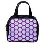 HEXAGON2 WHITE MARBLE & PURPLE DENIM (R) Classic Handbags (2 Sides) Back