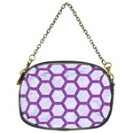HEXAGON2 WHITE MARBLE & PURPLE DENIM (R) Chain Purses (One Side)  Front