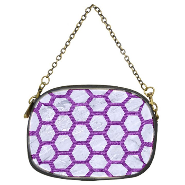 HEXAGON2 WHITE MARBLE & PURPLE DENIM (R) Chain Purses (One Side)