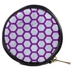 HEXAGON2 WHITE MARBLE & PURPLE DENIM (R) Mini Makeup Bags Front